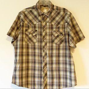Wrangler Mens Shirt Brown Plaid Size XL